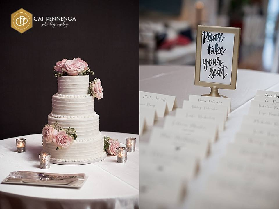 Cake with Pink Roses and Place Cards