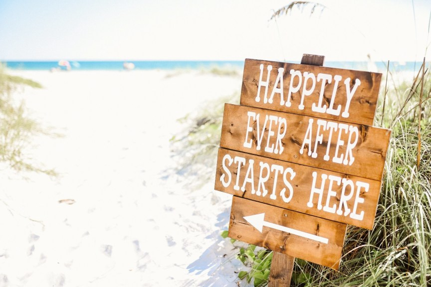 Happily Ever After Beach Sign