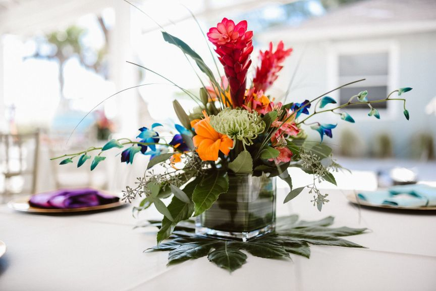 Tropical Guest Table Centerpiece with Monstra Leaf Underneath