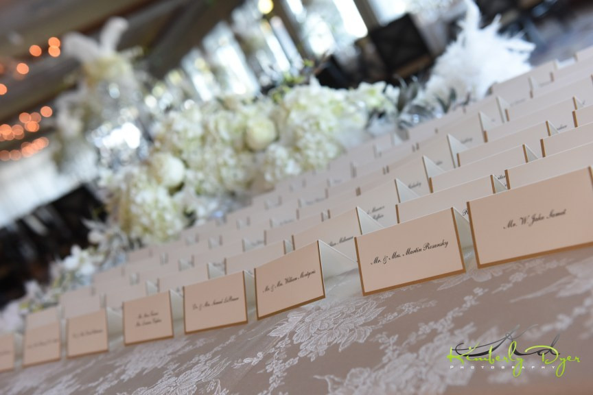 Place Card Table with Roses Hydrangea Flowers