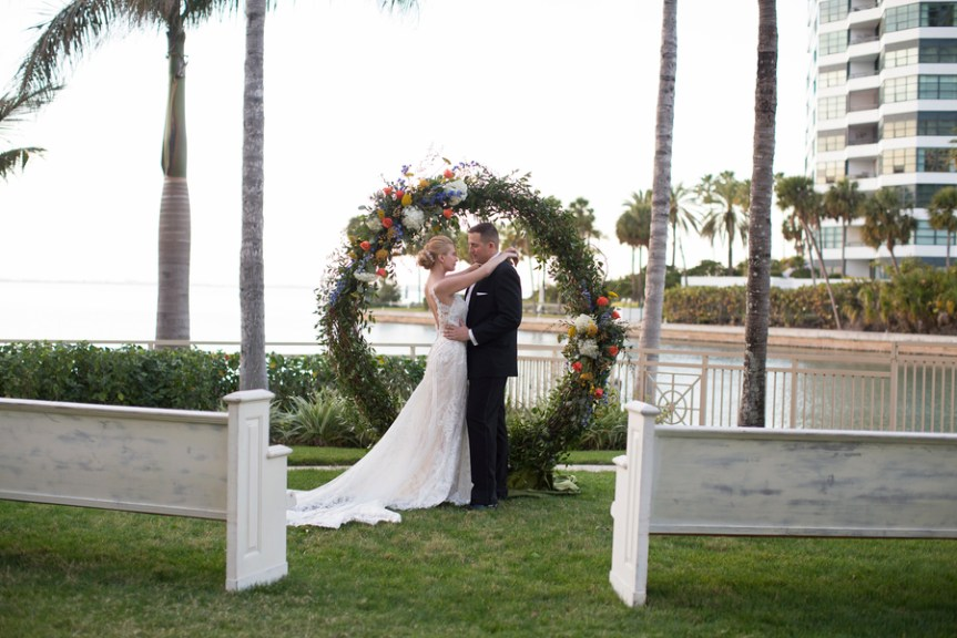 All Natural Wedding Arch with Spring Flowers for Ceremony at Ritz Carlton Sarasota