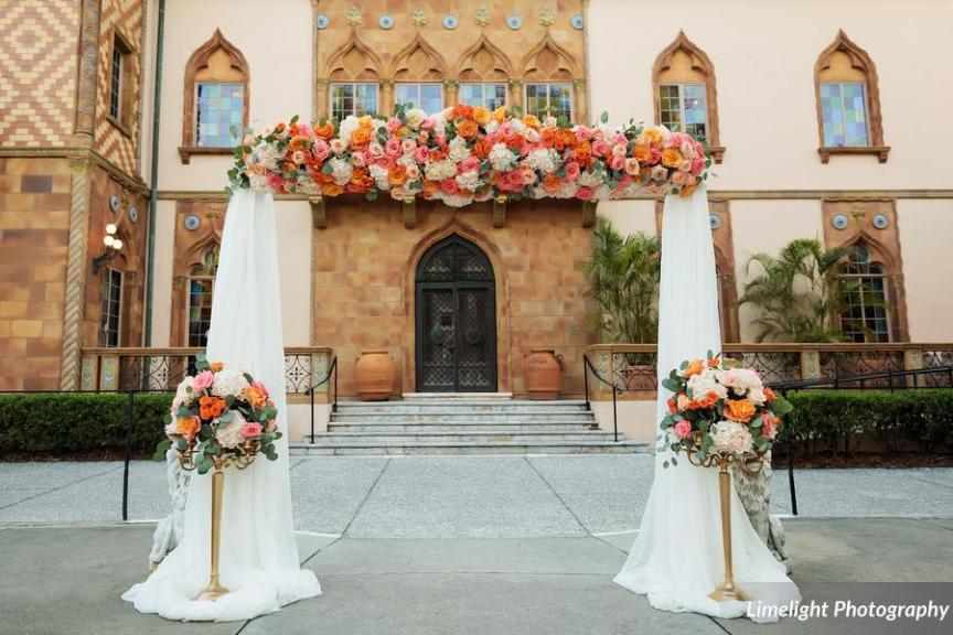 Arch with Peach and Coral Flower