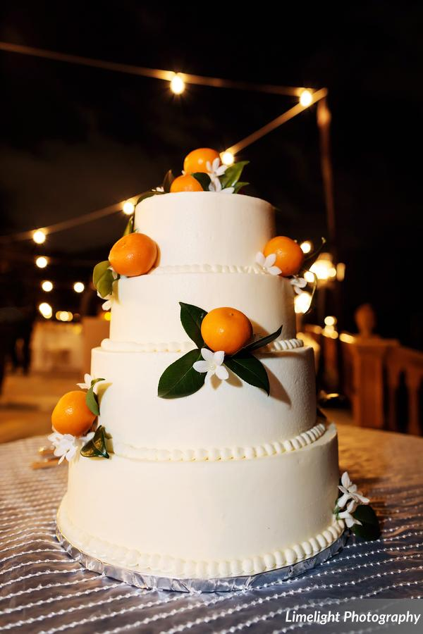 Wedding Cake with Cutie Oranges and Stephanotis