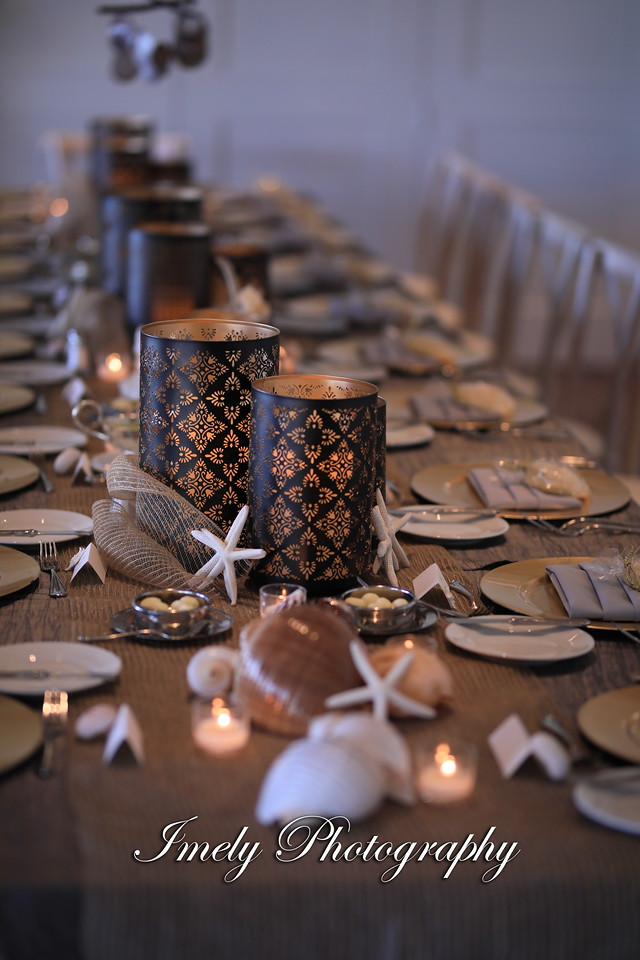 Shells and Candles for Feasting Table for Reception