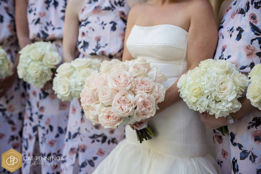 Bride and Bridesmaids Bouquets of Roses and Hydrangea