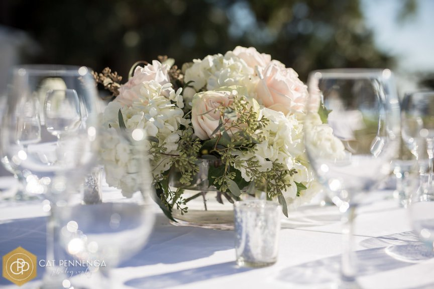 Guest Table Centerpiece with Bowl of Hydrangea Whisper Garden Roses and Seeded Eucalyptus