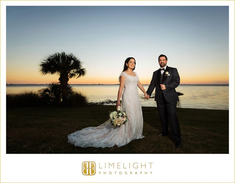 Bride with Bouquet and Groom at Sunset