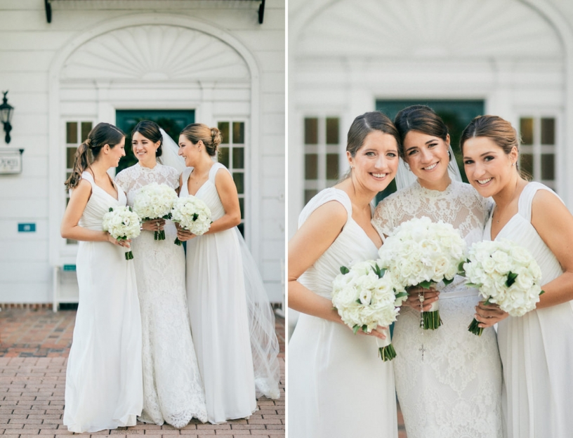 Bride and Bridesmaids with White Bouquets