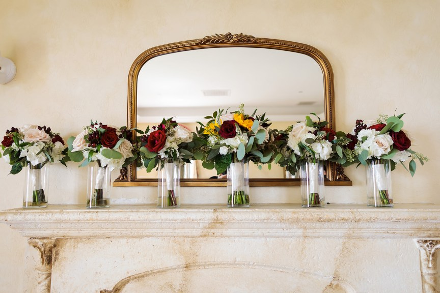 Bouquets on Mantle in Powel Crosley Estate Mansion