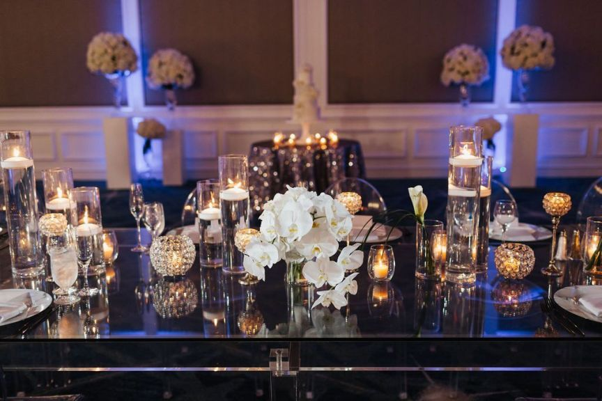 Feasting Table with Bridal Bouquet Placed in Vase