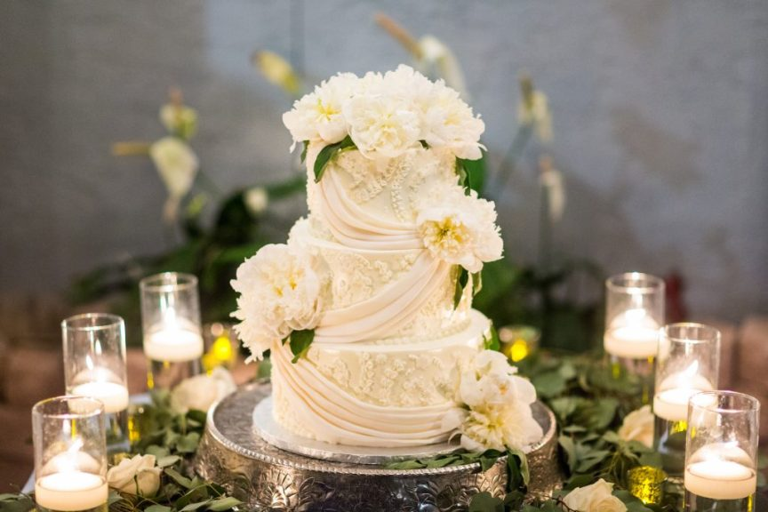Gorgeous Wedding Cake Decorated with Fresh Peonies