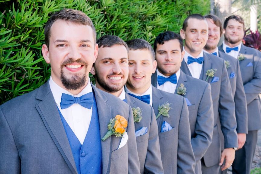 Groom and Groomsmen with Beautiful Boutonnieres