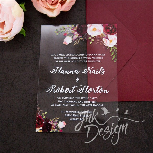 Burgundy Floral Acrylic Invitation UV Printed 2mm