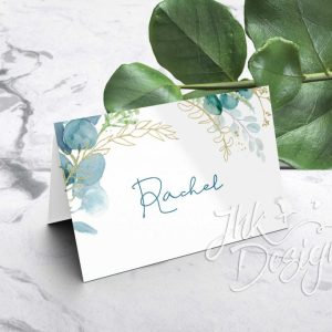 Green Leaf Folded Wedding Place Cards