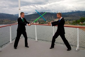Groom + Groom duke it out with light sabers, on the SS Sicamous!