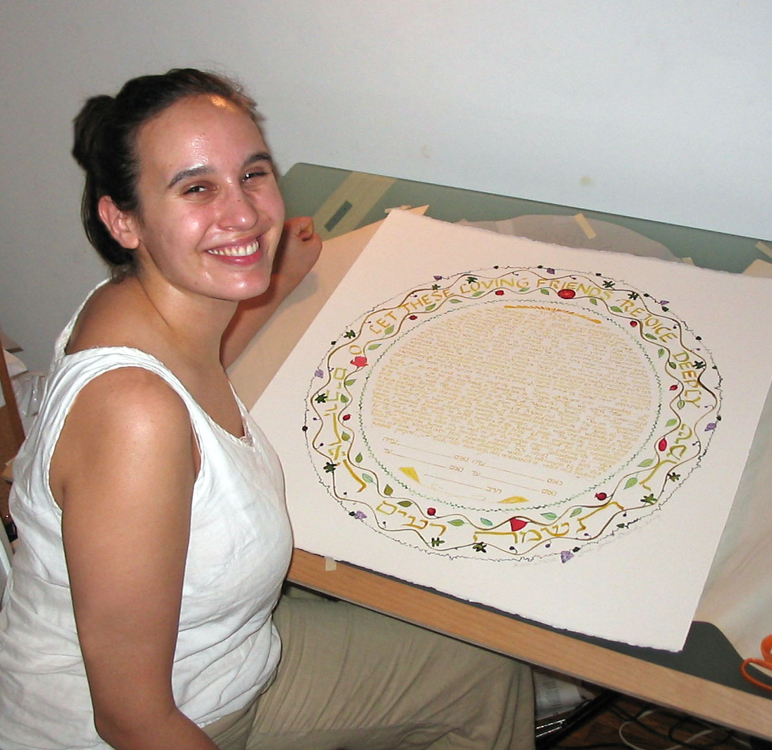 Sonia Gordon-Walinsky with one of her original, hand-written and painted ketubbot (Jewish marriage contracts). Sonia  Gordon-Walinsky2009