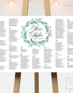 Green wreath wedding seating chart  designs also co rh weddingseatingco