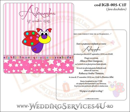 Invitatie de Botez cu gargarita si fundal roz in dungi IGB-005-C1F