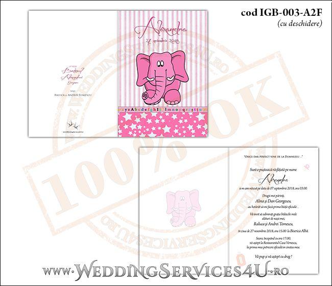 Invitatie de Botez cu elefantel si fundal roz in dungi cu stelute IGB-003-A2F