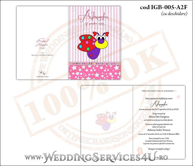 Invitatie de Botez cu gargarita si fundal roz in dungi IGB-005-A2F