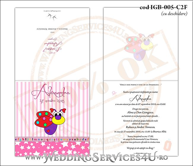 Invitatie de Botez cu gargarita si fundal roz in dungi IGB-005-C2F