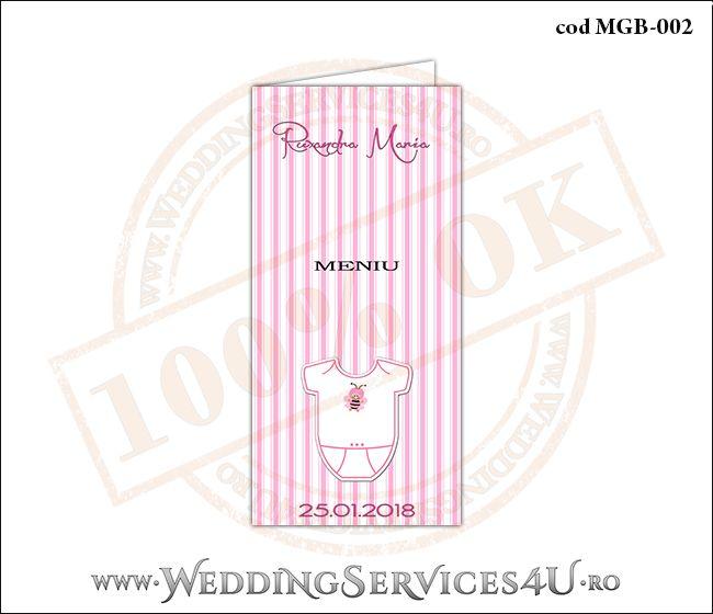Meniu de Botez cu body de bebelusi si fundal roz in dungi MGB-002