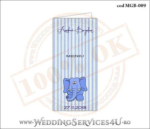 Meniu de Botez cu elefantel si fundal albastru in dungi MGB-009