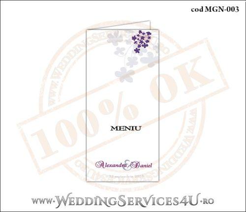 Meniu de Nunta cu flori mov MGN-003