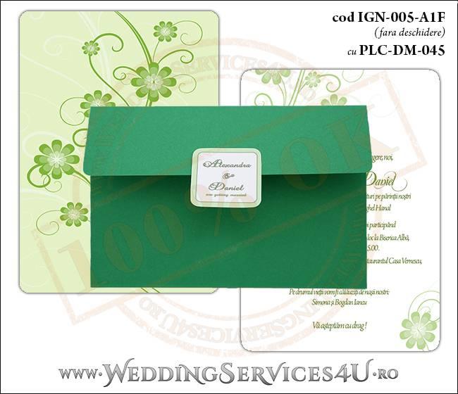 IGN-005-A1F cu PLC-DM-045 Invitatie Nunta Botez cu flori in nunate de verde