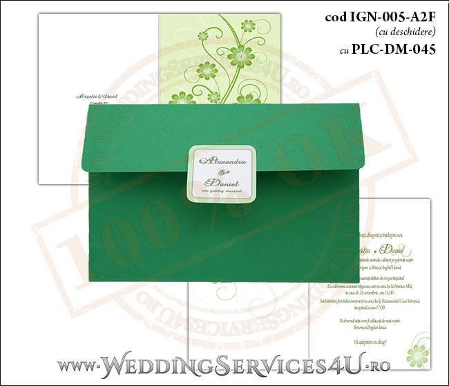 IGN-005-A2F cu PLC-DM-045 Invitatie Nunta Botez cu flori in nunate de verde