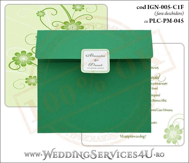 IGN-005-C1F cu PLC-PM-045 Invitatie Nunta Botez cu flori in nunate de verde