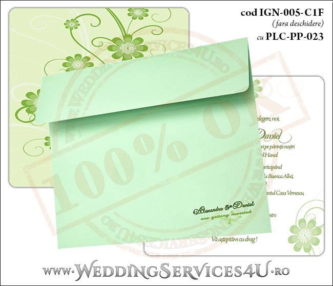 IGN-005-C1F cu PLC-PP-023 Invitatie Nunta Botez cu flori in nunate de verde