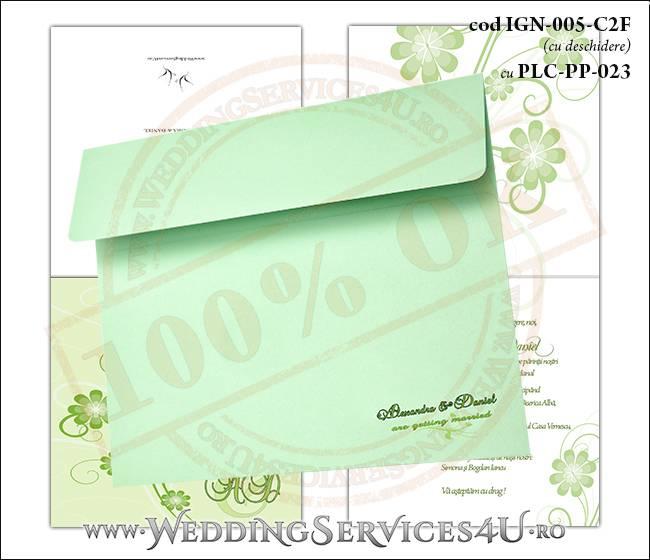IGN-005-C2F cu PLC-PP-023 Invitatie Nunta Botez cu flori in nunate de verde