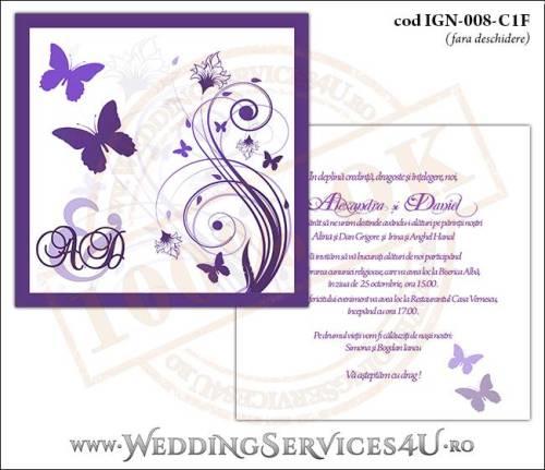 IGN-008-C1F Invitatie Nunta Botez cu flori si fluturi in nuante de mov lila violet