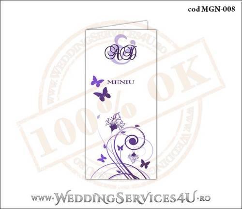 MGN-008 Meniu Nunta Botez cu flori si fluturi in nuante de mov lila violet
