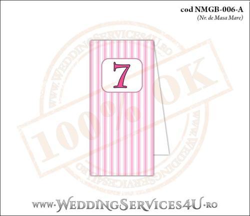 NMGB-006-A Numar de Masa pentru Botez cu dungi roz