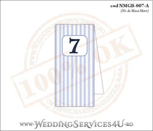 NMGB-007-A Numar de Masa pentru Botez cu dungi albastre