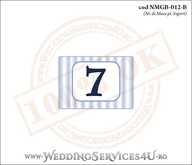 NMGB-012-B Numar de Masa pentru Botez cu dungi albastre