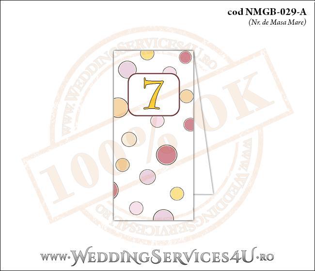 NMGB-029-A Numar de Masa pentru Botez cu buline colorate