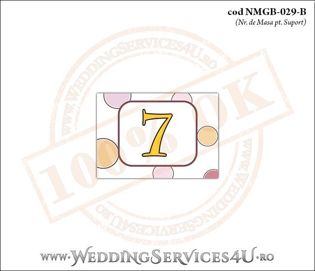 NMGB-029-B Numar de Masa pentru Botez cu buline colorate