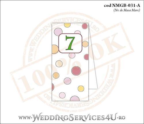 NMGB-031-A Numar de Masa pentru Botez cu buline colorate
