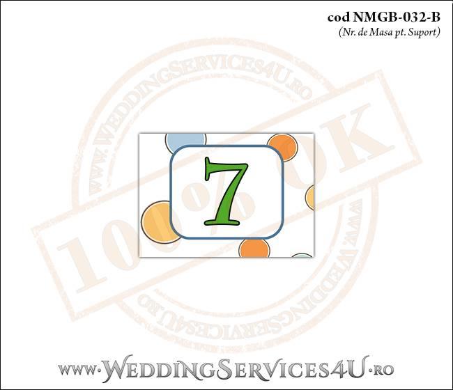 NMGB-032-B Numar de Masa pentru Botez cu buline colorate