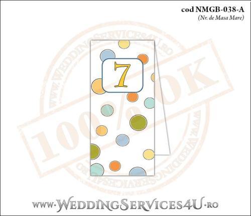 NMGB-038-A Numar de Masa pentru Botez cu buline colorate