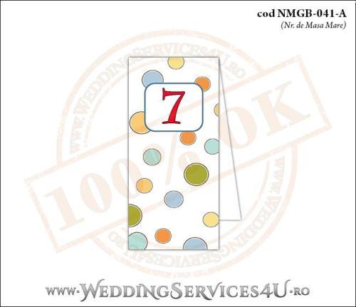 NMGB-041-A Numar de Masa pentru Botez cu buline colorate