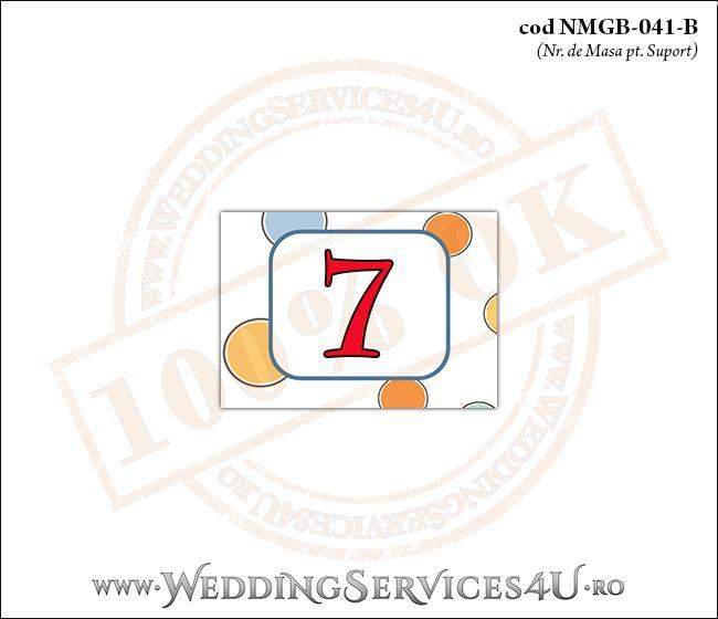 NMGB-041-B Numar de Masa pentru Botez cu buline colorate