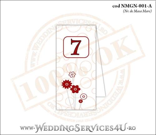 NMGN-001-A Numar de Masa pentru Nunta sau Botez cu flori rosii stilizate