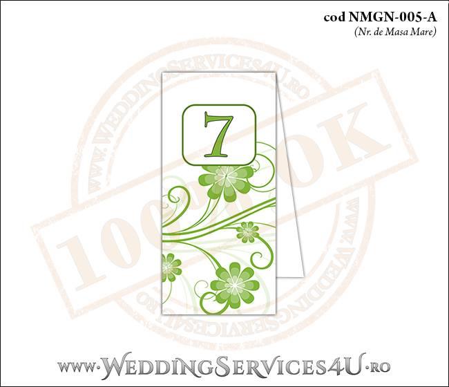 NMGN-005-A Numar de Masa pentru Nunta sau Botez cu flori in nuante de verde