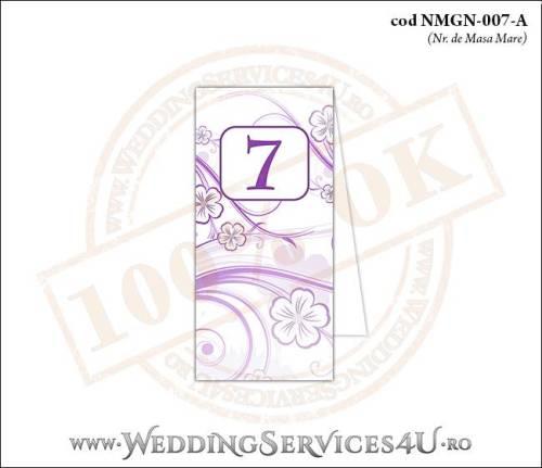 NMGN-007-A Numar de Masa pentru Nunta sau Botez cu flori mov lila violet