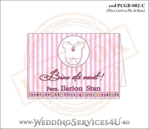 PCGB-002-C Place Card cu Plic de Bani sigilabil pentru Botez cu body de bebelusi