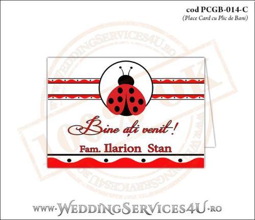 PCGB-014-C Place Card cu Plic de Bani sigilabil pentru Botez cu motive populare romanesti si gargarita